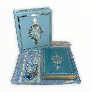 Koran Set met Gebedskleed Tasbeeh en Kuran Blauw