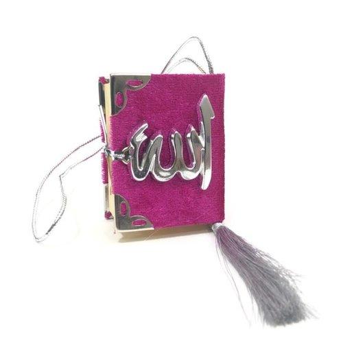 Fluwelen Koran voor auto Donkerroze Zilver