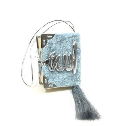 Fluwelen Koran voor auto Baby Blauw Zilver