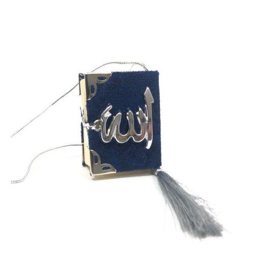 Fluwelen Koran voor auto Donkerblauw Zilver
