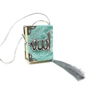 Fluwelen Koran voor auto Turquoise Zilver