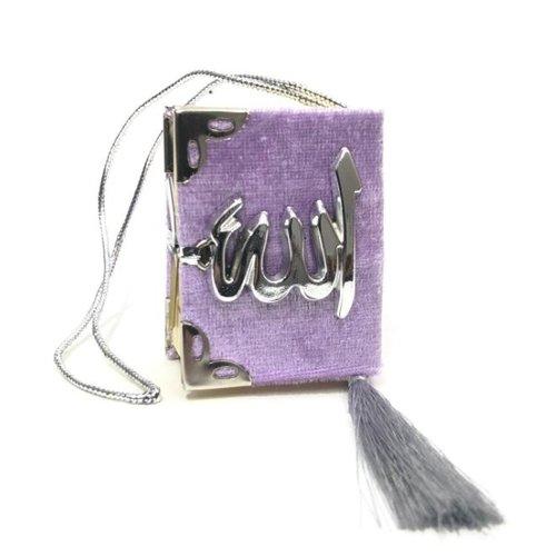 Fluwelen Koran voor auto Lila Zilver