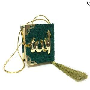 Fluwelen Koran voor auto Groen Goud