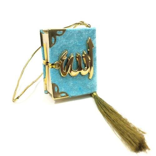 Fluwelen Koran voor auto Turquoise Goud