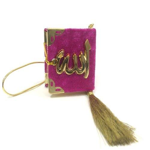 Fluwelen Koran voor auto Donkerroze Goud