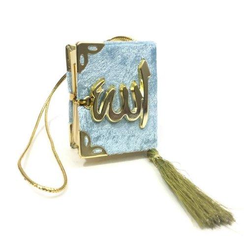 Fluwelen Koran voor auto Babyblauw Goud