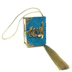 Fluwelen Koran voor auto Oceaan Blauw Goud