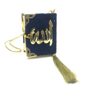 Fluwelen Koran voor auto Donkerblauw Goud