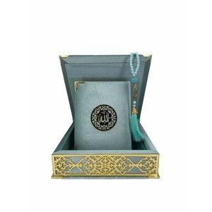 Velvet Koran in Box with Tasbeeh Pale Green Gold