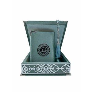 Fluwelen Koran in Doos met Tasbeeh Matgroen Zilver