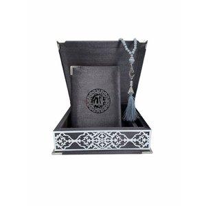 Velvet Koran in Box with Tasbeeh Gray Silver