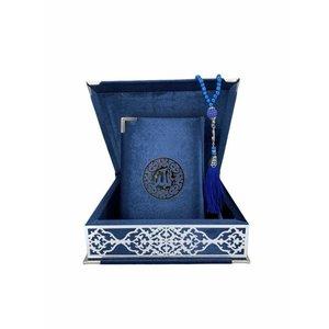 Fluwelen Koran in Doos met Tasbeeh Donkerblauw Zilver