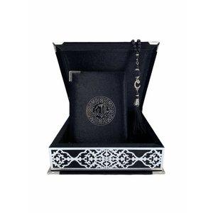 Velvet Koran in Box with Tasbeeh Black Silver