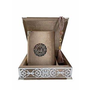 Velvet Koran in Box with Tasbeeh Taupe Silver