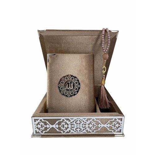 Fluwelen Koran in Doos met Tasbeeh Taupe Zilver