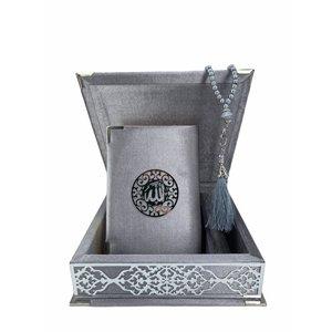 Fluwelen Koran in Doos met Tasbeeh Zilver