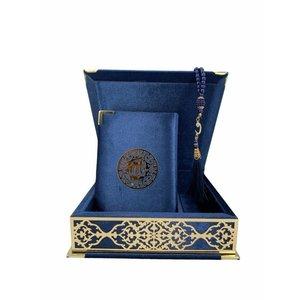 Fluwelen Koran in Doos met Tasbeeh Donkerblauw Goud
