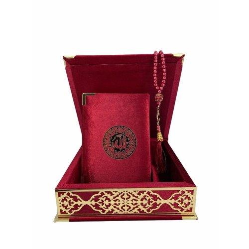 Fluwelen Koran in Doos met Tasbeeh Bordeaux Goud