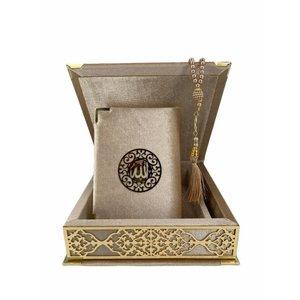 Velvet Koran in Box with Tasbeeh Taupe Gold