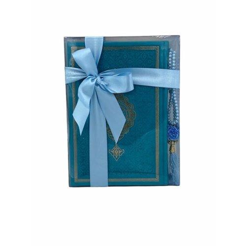 Thermo leren Koran met Tasbeeh Turquoise Small