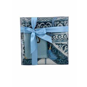 Prayer plumage pattern with Velvet Yasin and Tasbeeh Baby Blue