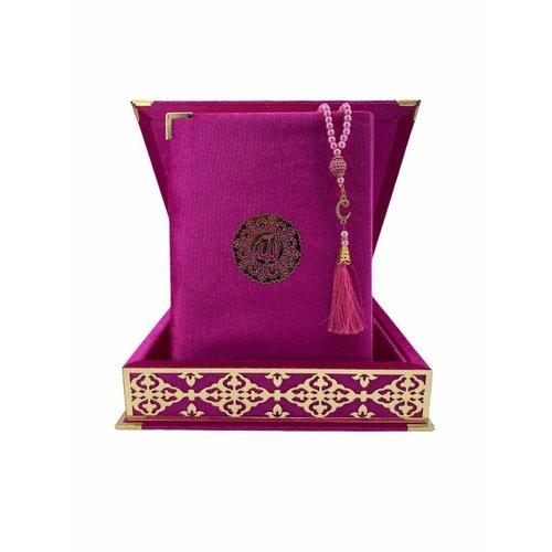 Fluwelen Koran in Doos XL met Tasbeeh Donkerroze