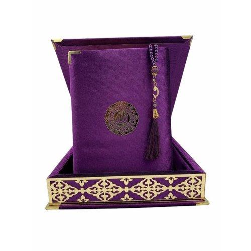 Fluwelen Koran in Doos XL met Tasbeeh Paars