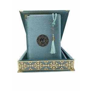 Fluwelen Koran in Doos XL met Tasbeeh Turquoise