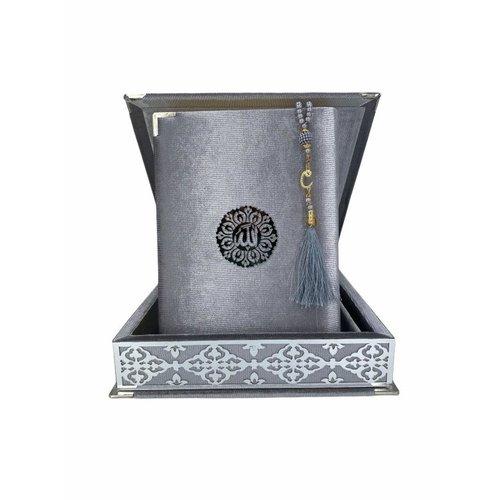 Fluwelen Koran in Doos XL met Tasbeeh Zilver