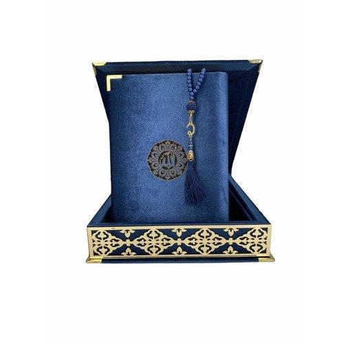 Fluwelen Koran in Doos XL met Tasbeeh Donkerblauw