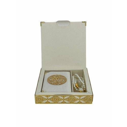 Luxe Koran Set met Tesbih en Kartonnen Kaft Wit