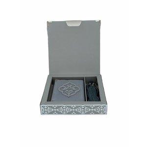 Luxe Koran Set met Tesbih en Kartonnen Kaft Zilver