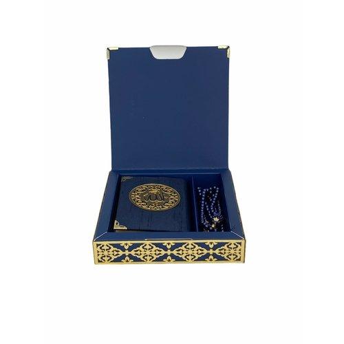 Luxe Koran Set met Tesbih en Kartonnen Kaft Donkerblauw