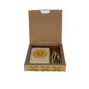Luxe Koran Set met Tesbih en Kartonnen Kaft Goud