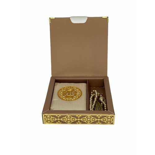 Luxury Quran Set with Tesbih and Cardboard Cover Gold