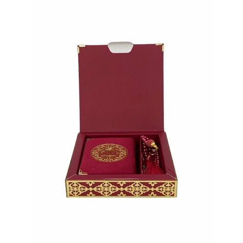 Luxe Koran Set met Tesbih en Kartonnen Kaft Bordeaux
