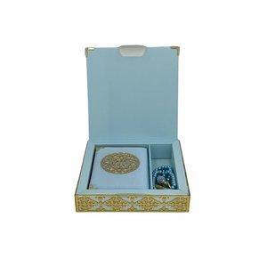 Luxe Koran Set met Tesbih en Kartonnen Kaft Babyblauw