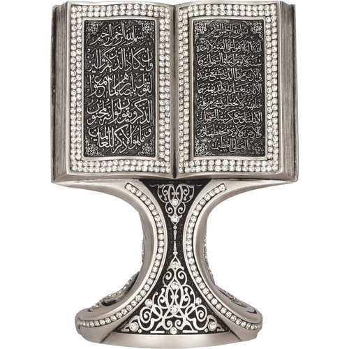Günes Hediyelik Boek Standaard Decoratie Ayet Al Kursi en Nazar Parel Wit