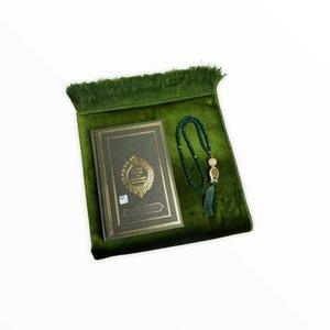 Fluwelen Gebedskleed met Koran en Tasbeeh Groen