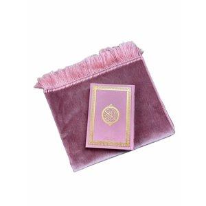 Fluwelen Gebedskleed Aardbei Roze met Suede Koran