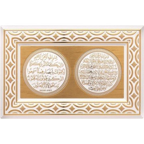 Günes Hediyelik Nazar & Ayat Al Kursi Lijst Goud met Wit
