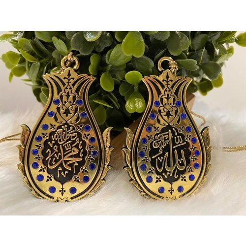 Autohanger - Allah en Mohammed - Goud Donkerblauw