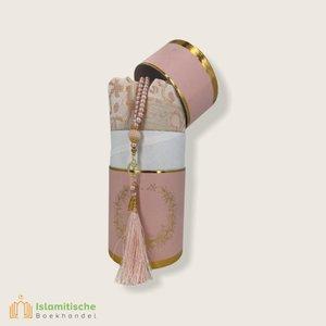SoukXL Cilinder Box Geschenkset Roze met Gebedskleed en Tasbeeh