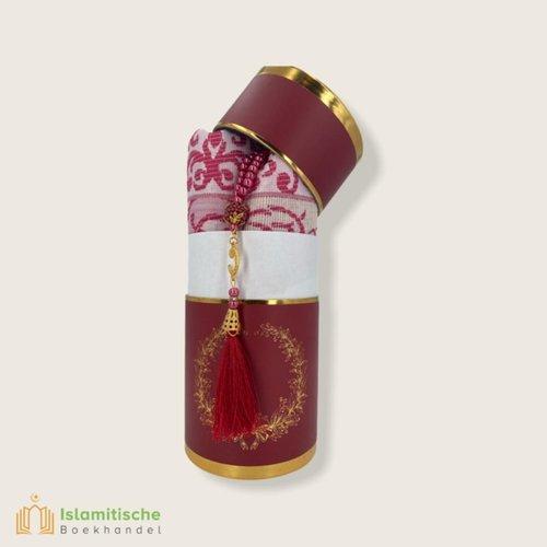 SoukXL Cilinder Box Geschenkset Bordo met Gebedskleed en Tasbeeh
