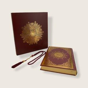 Meliksah Koran set met Tesbih in kartonnen doos Bordeaux