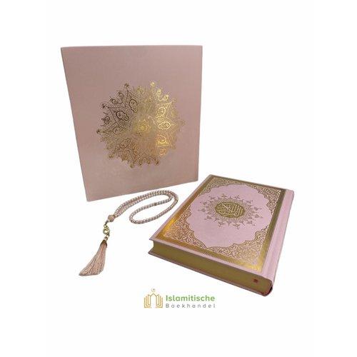 Meliksah Koran set met Tesbih in kartonnen doos Roze