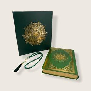 Meliksah Koran set met Tesbih in kartonnen doos Groen