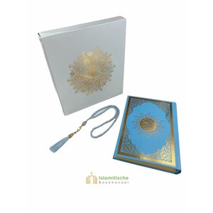 Meliksah Koran set met Tesbih in kartonnen doos Babyblauw