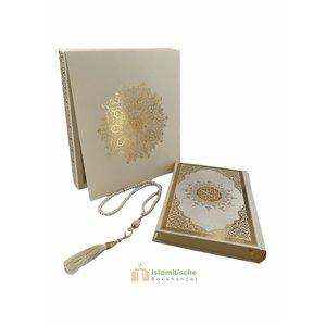 Meliksah Koran set met Tesbih in kartonnen doos Wit