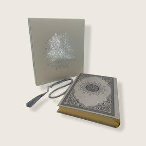 Meliksah Koran set met Tesbih in kartonnen doos Zilver